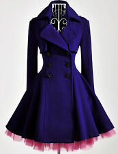 women slim double breasted blue purple wool blend trench warm coat dress jacket