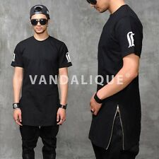 "Max Extended Long Side Zip T Shirt 32"" S M Kanye ASAP Rocky VANDALIQUE t502"