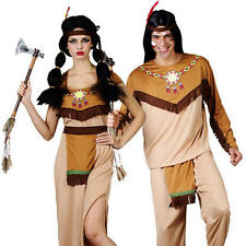 Native Indian Costume + Headpiece Adults Western Fancy Dress Up Outfit S/M/L/XL
