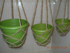 Handmade Crochet Plant Hanger Natural or Brown Jute Twine  6 8 or 10 inch Pot