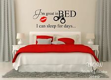 Great In Bed Funny Adult Bedroom Wall Sticker / Wall Art Decals Sexy Sticker