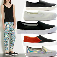 WOMENS LADIES FLAT SKATER SLIP ON TRAINERS SNEAKERS PLIMSOLLS PUMPS SHOES SIZE