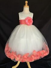 Flower Girl Wedding Bridesmaids IVORY Tulle Petal Dress