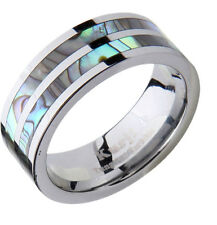 Mens Wedding Band Ring Tungsten Carbide Modern Abalone Shell Inlay comfort Fit
