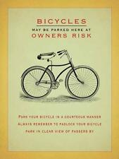 BICYCLES OWNERS RISK CYCLING LARGE,MED,SMALL VINTAGE STEEL WALL PLAQUE TIN METAL