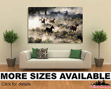 Wall Art Canvas Picture Print - Cowboy and Wild Horses 3.2