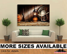 Wall Art Canvas Picture Print (Unframed) - Cowboy Hat Lasso and Riffle Gun