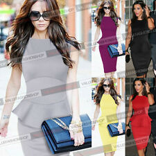 Womens Elegant Peplum Cotton Work Business Casual Party Bodycon Pencil Dress 985