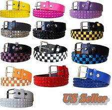 NEW 3 Row Metal Pyramid Studded Leather Belt Unisex Men Women Punk Rock Goth Emo