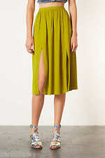 £34 TOPSHOP Olive Chartreuse Lime Crepe Double Split Midi Skirt 6 8 10 12 14 NEW