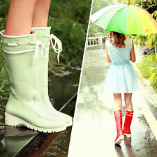 5Colors Women's MId Calf Knee High Rainboots Galoshes Low Heels Tall Boots NEW