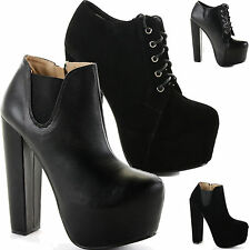 WOMENS LADIES BLOCK HEELED HIGH HEEL PLATFORM CHELSEA LACE ZIP ANKLE BOOTS SIZE