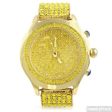 Canary and Gold Iced Out Blizzard Mens Hip Hop Style Watch