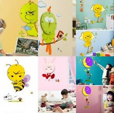 Cartoon Kid's Room Decorate 3D Removeable Wall Sticker with Wall Clock 6 Styles