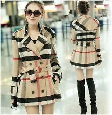 NWT Women Lady Double Breasted Plaid Check Wool blend Long Trench Coat Jacket