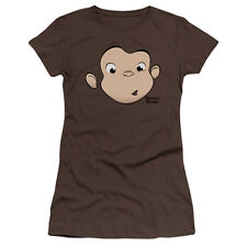 Curious George Monkey Childrens Book George Face Juniors Sheer T-Shirt Tee