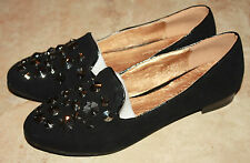 Black Faux Suede Studded Loafer Flats Casual Shoes SZ 7; 8.5