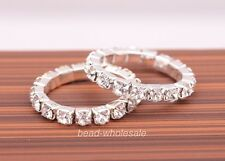 Hot1 Row2 Rows Vogue Jewelry Silver Plated Crystal Rhinestone Ring Elastic Ring