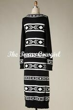 New Black White Aztec Tribal Long Maxi Cardigan Sweater Duster Western S M L
