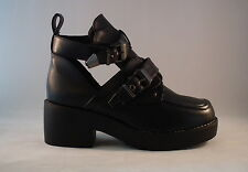 New Coltrane Shiny Pu Faux Leather Cut Out Ankle Boots Black Celebrity style