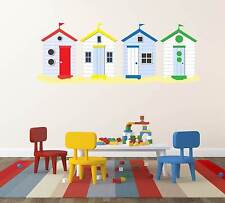 Beach Huts on Sand COLOURFUL Wall Decal All In One Piece. Novelty Sticker