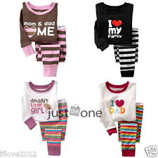 Baby Children Kids Boy Girl Cute Pattern Sleepwear Tops + Pants Pajama Set 2-7Y