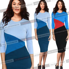 Womens Colorblock Cotton Stretch Wear To Work Cocktail Bodycon Pencil Dress 983