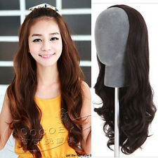 Long New Womens Lady Curly Half Fall Headband Head Wavy Hair Extensions 3 Colors