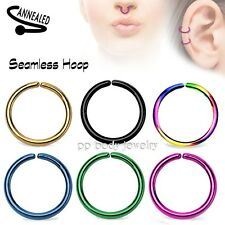 2pcs 20g,18g,16g Anodized Seamless Hoop Tragus Cartilage Septum Labret Nose Ring