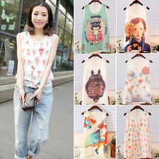 Women Girls Flowing Chiffon Sleeveless Shirt Elegant Tank Vest Tops Blouse DBUS