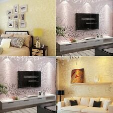 Luxury Rose Floral Printing wall effect 10M wallpaper Roll living room brown