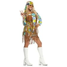 Hippie Costume Adult 60s - 70s Flower Child Womens Halloween Fancy Dress