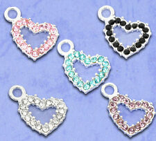 Wholesale DIY Jewelry Mixed Silver Plated Rhinestone Heart Charm Pendants