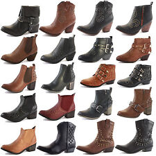 LADIES WOMENS WESTERN CUBAN HEEL LEATHER STYLE VINTAGE COWBOY ANKLE BOOTS SIZE