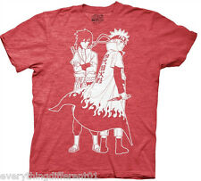 New Naruto Shippuden Anime Cartoon Naruto & Sasuke Outline Adult T Shirt
