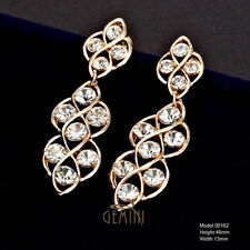 Stunning Long Yellow Gold Filled  Brilliant Crystals Earrings MK162US1
