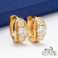 US VALENTINE Gifts Yellow Gold Filled Created Brilliant Hoops Earrings 091A4
