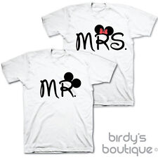 MR & MRS MOUSE COUPLES MATCHING WEDDING T-SHIRT TOP GIFT MICKEY MINNE PRESENT ♥♥