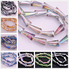 10pcs 16x8mm Crystal Glass Pagoda Teardrop Faceted Jewelry Findings Loose Beads