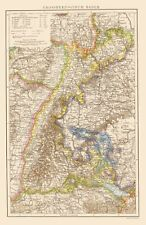 Old Germany Map - Grand Duchy of Baden - Times London 1895 - 23 x 35.52