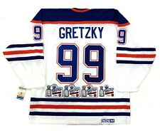 WAYNE GRETZKY EDMONTON OILERS ALL 4 STANLEY CUP PATCH CCM VINTAGE JERSEY
