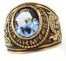 Aqua Marine Stone US Army Military Gold EP Mens SS Ring