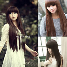 Fashion New Womens Girls Long Straight Full Hair Cosplay Lolita Party Wigs Brown