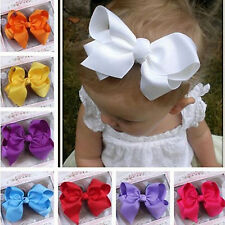 Great 1pc Big Hair Bows Boutique Girls Baby Kids Alligator Clip Grosgrain Ribbon