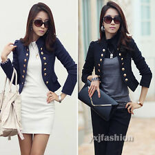 Korean Women's Long Sleeve Casual Button Small Jacket Coat Blazer Cardigan Suits