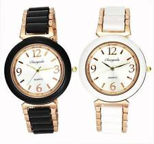 Ladies Women Stainless Steel Chain Clock White Black Necklace Quartz Wrist Watch