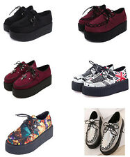 Women Round Toe Lace Up Punk Goth High Platform Flat Oxford Casual Creeper Shoes