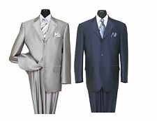 Men's High Quality 2 piece 3 Button Elegance Wool Feel Suits Silver Navy 38R~56L