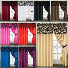 "ANTONIO Damask Half Flock Pair Of Pencil Pleat Window Curtains 66""x72""  90""x90"""
