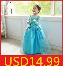 Frozen Princess Queen Elsa Gown Girls Kids Party Fancy Dresses Costume 3-8Y